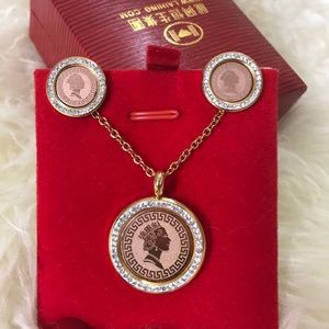Jewelry - 2/50gold and rose gold jewelry set with cz diamond